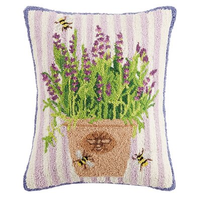 Giacinto Lavender Bees and Flowers Wool Lumbar Pillow