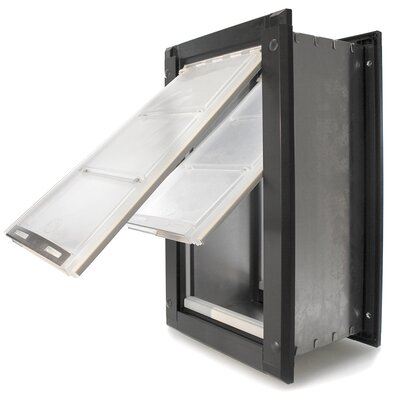 Endura Wall Mount Double Flap Pet Door Size: 18 H x 10 W , Color: Black/Dark Bronze