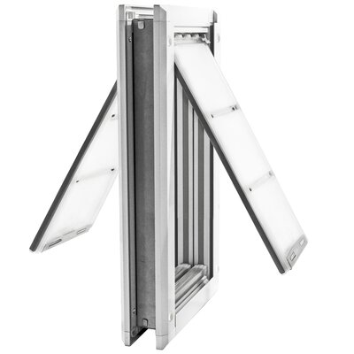 Endura Door Mount Double Flap Pet Door Size: 24 H x 13.5 W x 2 D, Color: White