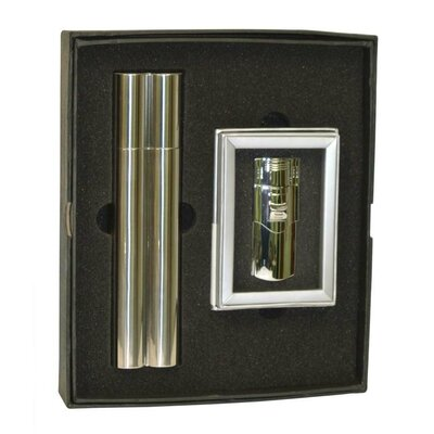 Speary Flask and Cigar Tube Combo Lighter Gift Set