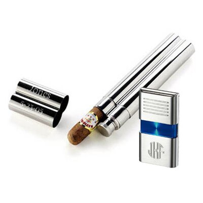 Morin Flask and Cigar Tube Combo Lighter Gift Set