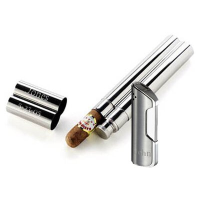 Portland Flask and Cigar Tube Combo Lighter Gift Set