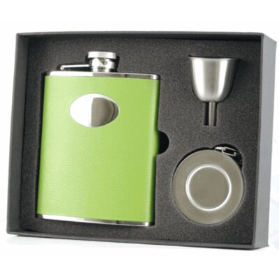 Leather Stainless Steel Hip Flask, Telescopic Shot Cup and Funnel Gift Set VSET32-1124