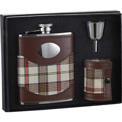 Braw Leather and Plaid Stainless Steel Flask Gift Set VSET110
