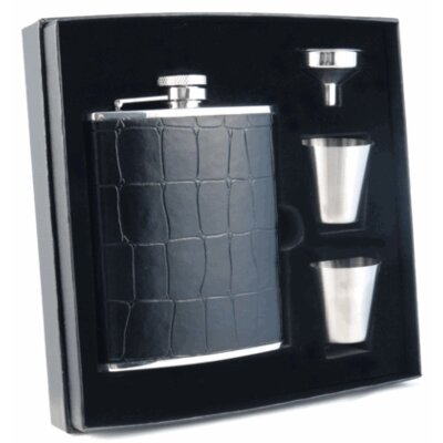 Beau Monde Crocodile Leather Deluxe Hip Flask Gift Set VSET38-1152