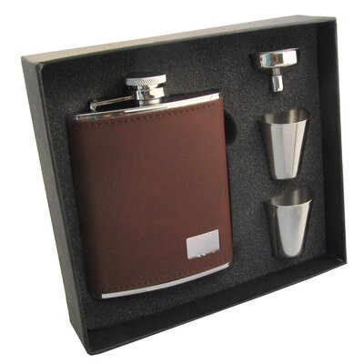 Leather Stainless Steel Hip Flask Gift Set VSET5002B-1194