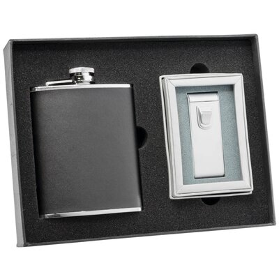 Leather Flask and Torch Flame Cigar Lighter Set
