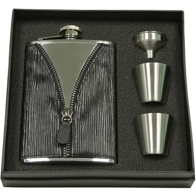 Zipper Leatherette Stainless Steel Deluxe Flask Gift Set VSET39-2069
