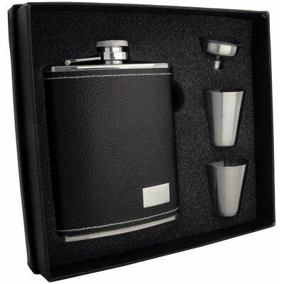 Leather Stainless Steel Hip Flask Gift Set VSET5002B-1113