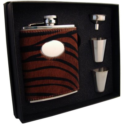 Tiger Leather Flask Gift Set VSET5002B-1285
