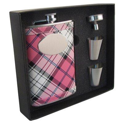 Valour Plaid Stainless Steel Hip Flask Gift Set VSET5004B-9002