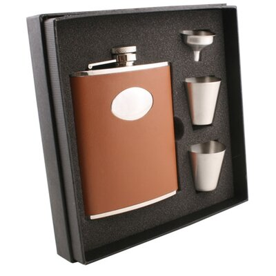 Leather Deluxe Hip Flask Gift Set VSET38-1118