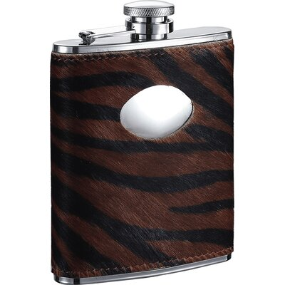 Tiger Imitation Leather Stainless Steel Hip Flask VF1285