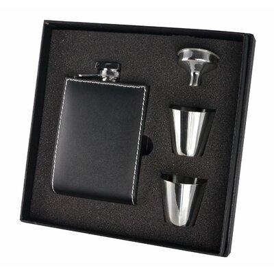 Wallet Leatherette Stainless Steel Flask Gift Set VSET107
