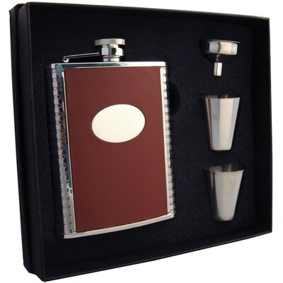 Leather Stainless Steel Hip Flask Gift Set VSET5002B-2051