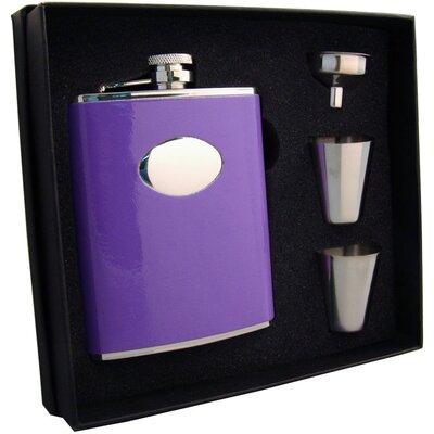 Leatherette Stainless Steel Hip Flask Gift Set VSET5002B-1299