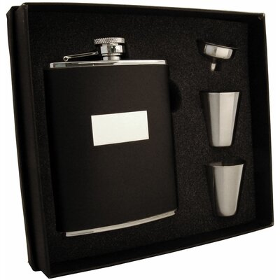 Leather Stainless Steel 6 Oz. Hip Flask Gift Set VSET5002B-1188