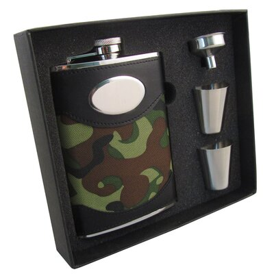 Camouflage Wrapped Stainless Steel Hip Flask Gift Set VSET5004B-9003