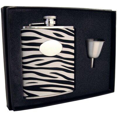 Zebra Leather Stainless Steel Liquor Hip Flask Gift Set VSET16-1221