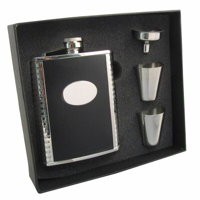 Leather Stainless Steel Hip Flask Gift Set VSET5002B-1154