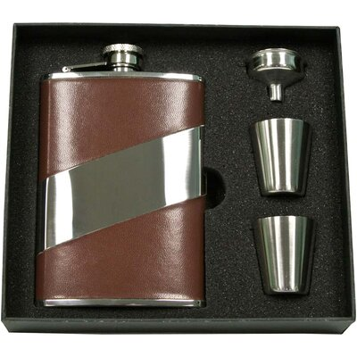 Leather Stainless Steel Hip Flask Gift Set VSET5004B-2063