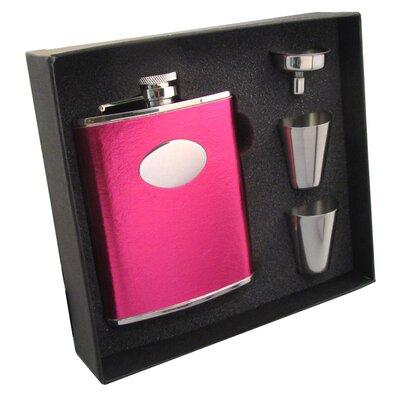 Leatherette Stainless Steel Hip Flask Gift Set VSET5002B-1175
