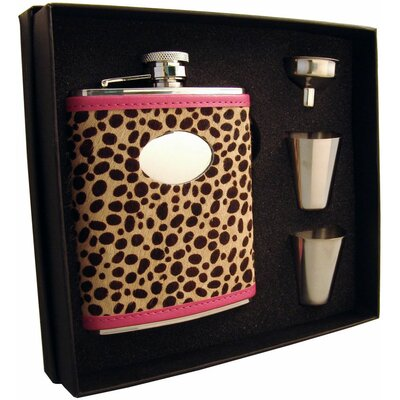 Cheetah Leather Flask Gift Set VSET5002B-1284