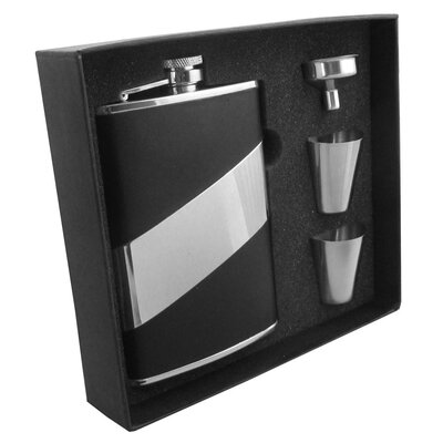 Leather Stainless Steel Hip Flask Gift Set VSET5004B-2025