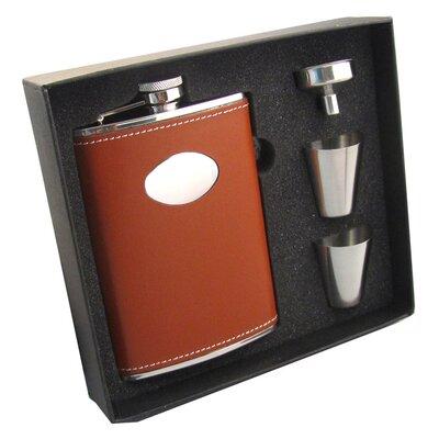 Leather Stainless Steel Hip Flask Gift Set VSET5004B-1115