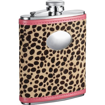 Cheetah Leather Stainless Steel Hip Flask VF1284Amaze
