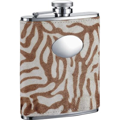 Tiger Leather Stainless Steel Hip Flask VF1286Amaze