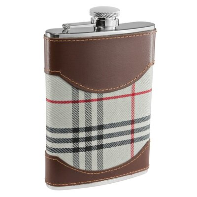 Tobia Plaid and Leather Liquor Flask VF1274NP