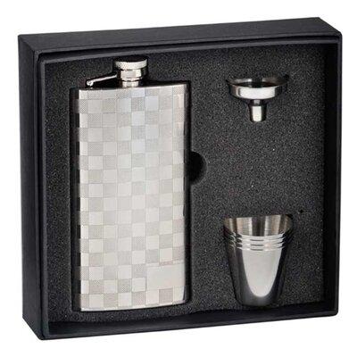 Checkered Slim Liquor Flask 6 Piece Gift Set VSETB