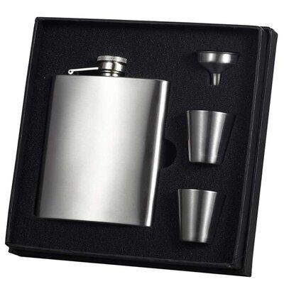 Visol Vset38 Derek Satin Stainless Steel 8oz Deluxe Flask Gift Set VSET38