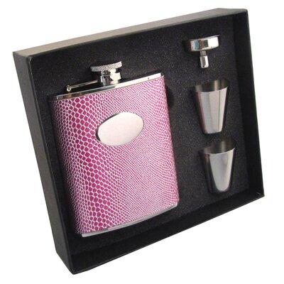 Snakeskin Design Stainless Steel Hip Flask Gift Set VSET5002B-1193