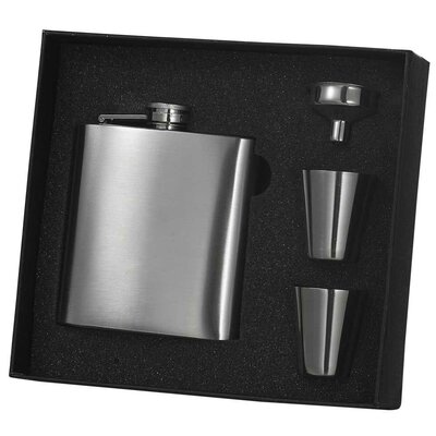 Seville Stainless Steel Hip Flask Gift Set VSET5002B-5008