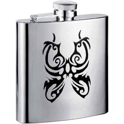 Butterfly Stainless Steel Hip Flask VF1232