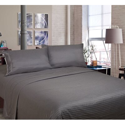 400 Thread Count Cotton and Polyester Sheet Set Size: King, Color: Gray