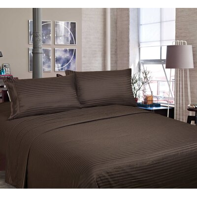 400 Thread Count Cotton and Polyester Sheet Set Color: Chocolate, Size: Queen
