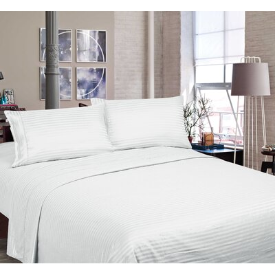 400 Thread Count Cotton and Polyester Sheet Set Size: King, Color: White