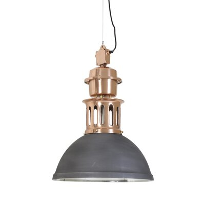 Jefferson 1-Light Pendant Finish: Matte Black/Brushed Copper