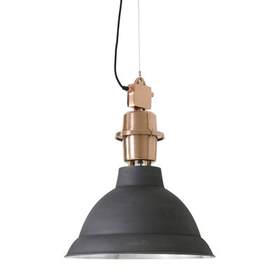 Lincoln 1-Light Pendant Finish: Matte Black/Brushed Copper