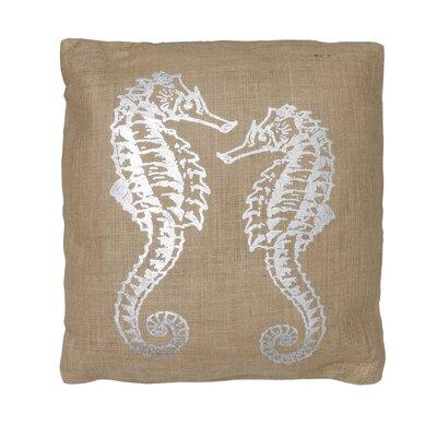 Seahorse Jute Throw Pillow