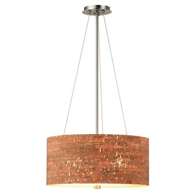 Alentejo 3-Light Drum Pendant Finish: Satin Nickel - Etched Glass