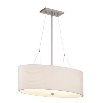 Alexis 3-Light Drum Pendant Shade color: White Grasscloth