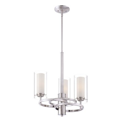 Hula 3-Light Shaded Chandelier Finish: Satin Nickel
