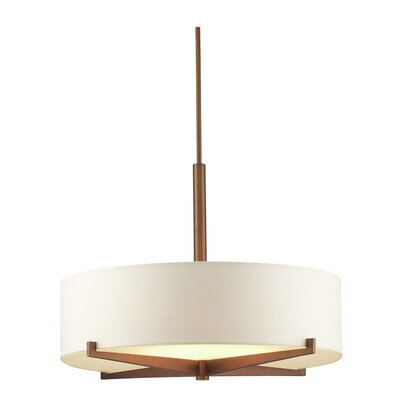 Fisher Island 3-Light Drum Pendant Shade Color: Ivory, Finish: Merlot Bronze