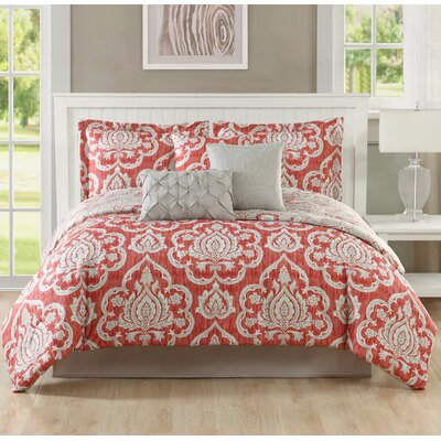 Caine 7 Piece Reversible Comforter Set Size: King