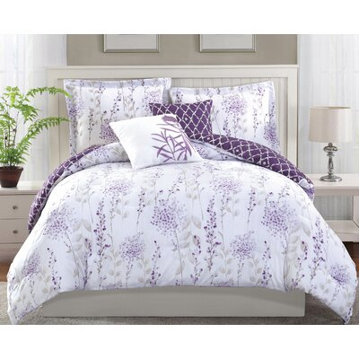Fresh Meadow 5 Piece Reversible Comforter Set Size: King