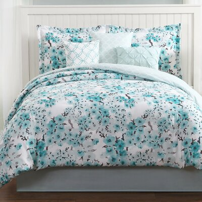 Sakura 7 Piece Reversible Comforter Set Size: Queen